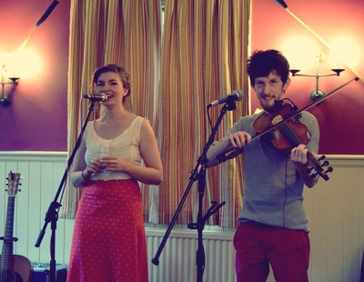 Rosie Hodgson and Rowan Piggott Folk Singers Fiddle Guitar The Wilderness Yet Elsted Inn